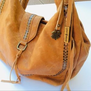 Lucky Brand Distressed Leather Studded Hobo Bag